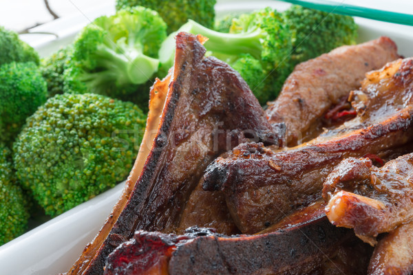 grilled ones rib with broccoli Stock photo © Dar1930