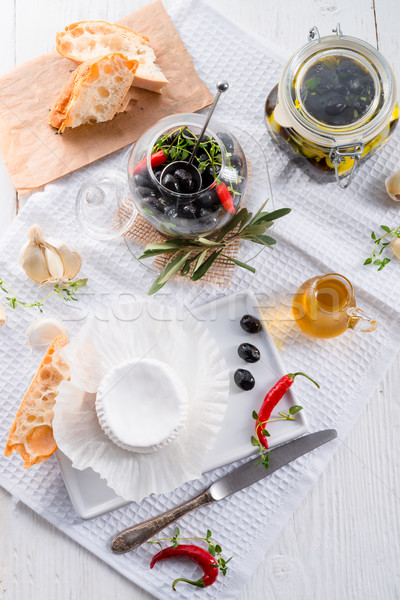 soft cheese with spicy olives Stock photo © Dar1930