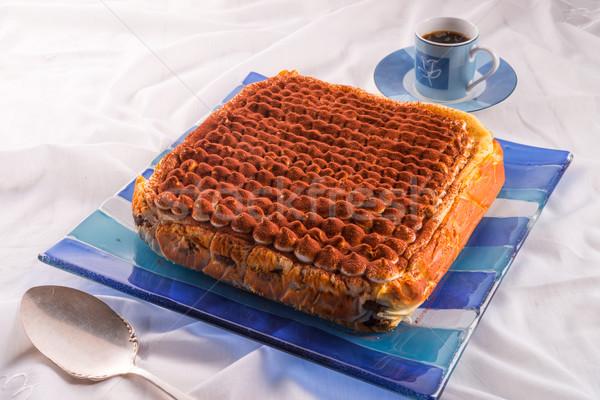 Tiramisu csokoládé torta sajt tej piros Stock fotó © Dar1930