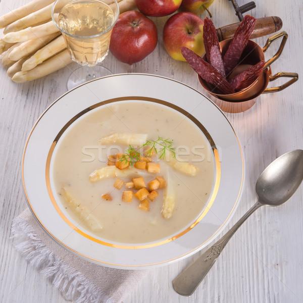 Kuşkonmaz çorba elma gıda şarap Stok fotoğraf © Dar1930
