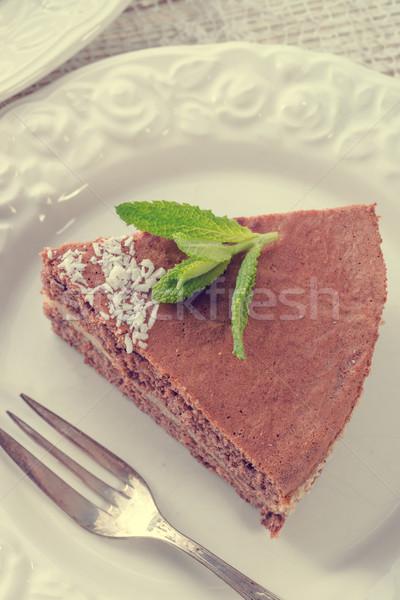 Chocolate bolos noz enchimento vintage primavera Foto stock © Dar1930