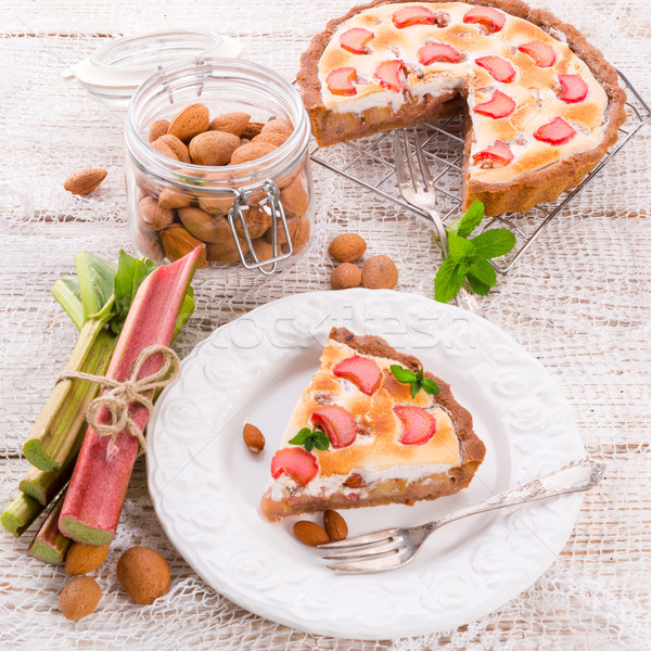 rhubarb cakes with meringue and almonds Stock photo © Dar1930