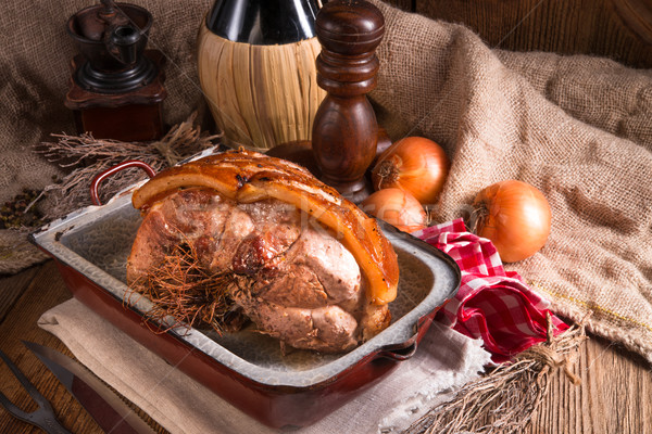 Foto stock: Carne · de · porco · páscoa · comida · festa · restaurante · prato
