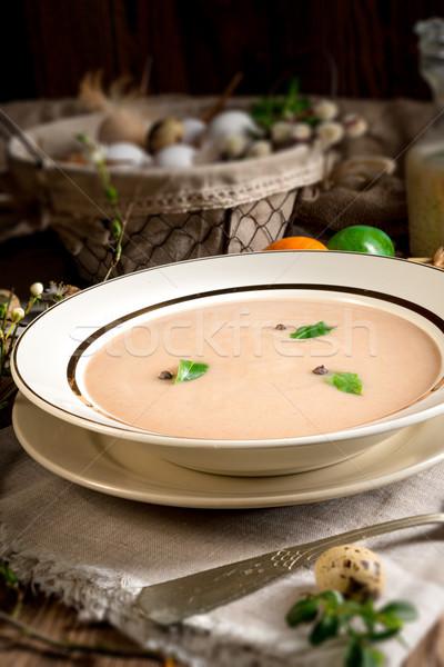 Fanyar rozs leves húsvét étel vacsora Stock fotó © Dar1930