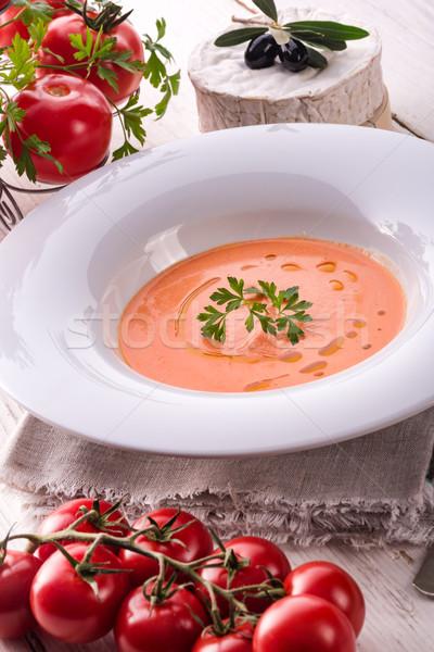Rústico sopa de tomate outono tomates quente almoço Foto stock © Dar1930
