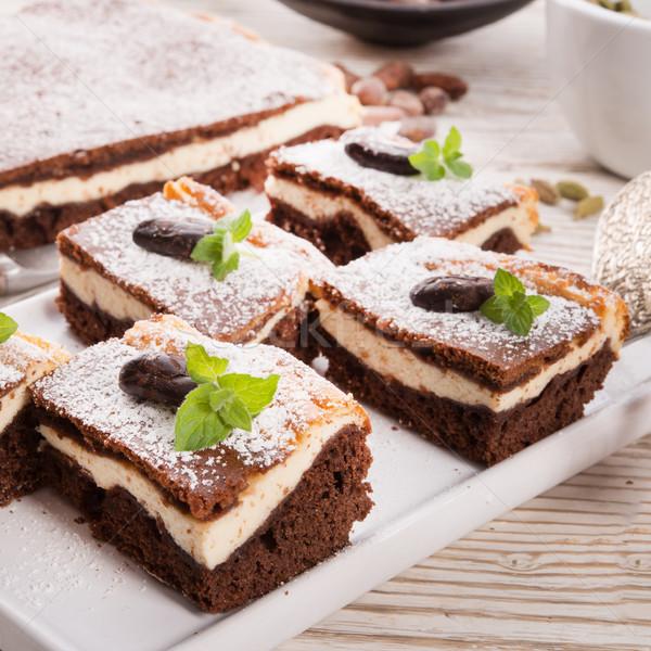 Ravent kek gıda ev çikolata peynir Stok fotoğraf © Dar1930
