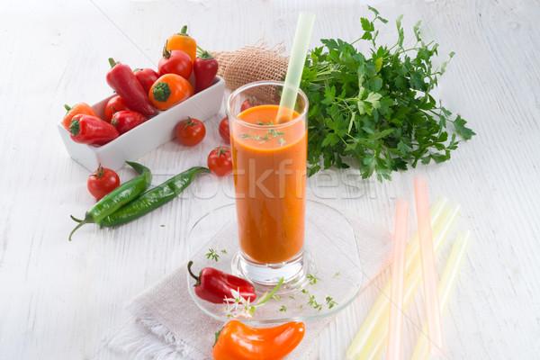 Piros piros paprika smoothie étel háttér nyár Stock fotó © Dar1930