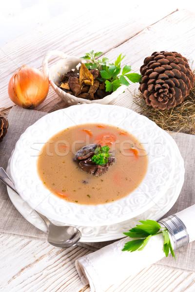 Steen champignon soep voedsel hout veld Stockfoto © Dar1930