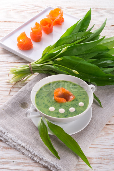 Bear allium soup with smoking salmon Stock photo © Dar1930