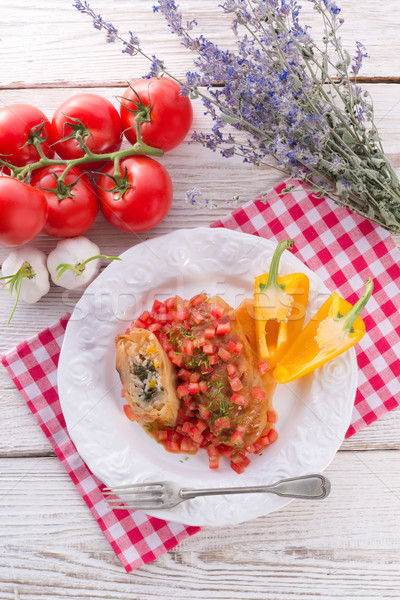 Vegetarian cabbage rolls with spinach and salsa  Stock photo © Dar1930