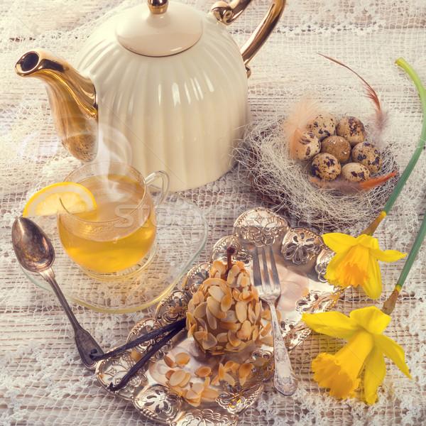 almonds pear and tea - vintage Stock photo © Dar1930
