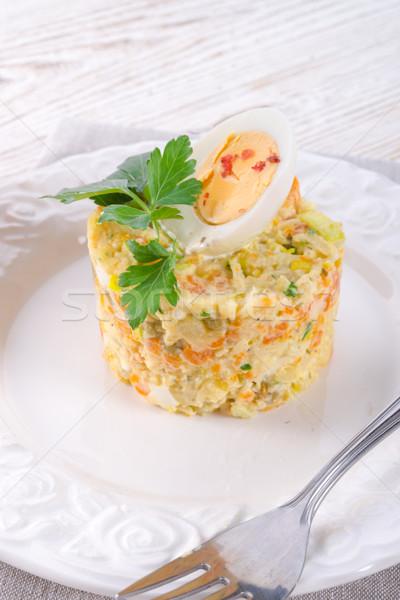 Stockfoto: Plantaardige · salade · voorjaar · gezondheid · achtergrond · ruimte