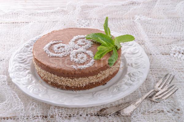Chocolate bolos noz enchimento primavera comida Foto stock © Dar1930