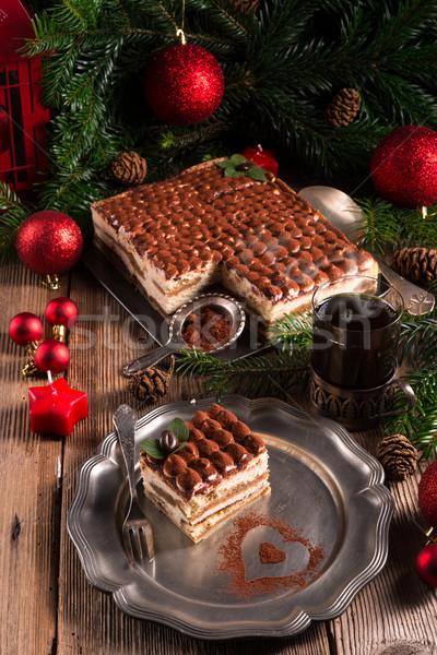 Karácsony tiramisu étel buli csokoládé háttér Stock fotó © Dar1930