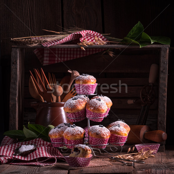 Bleuets muffins fond table bleu pain Photo stock © Dar1930
