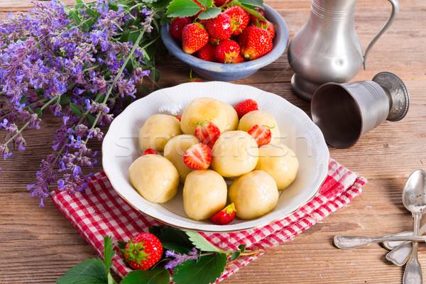 dumplings with strawberries Stock photo © Dar1930
