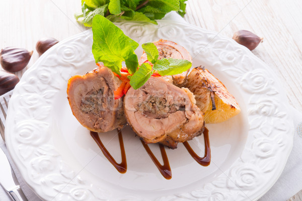 Turkey's beef olive with ham-sweet chestnut filling Stock photo © Dar1930