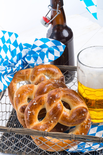 homemade pretzels and beer Stock photo © Dar1930