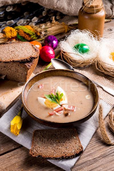Foto d'archivio: Segale · zuppa · Pasqua · cucina · tavola