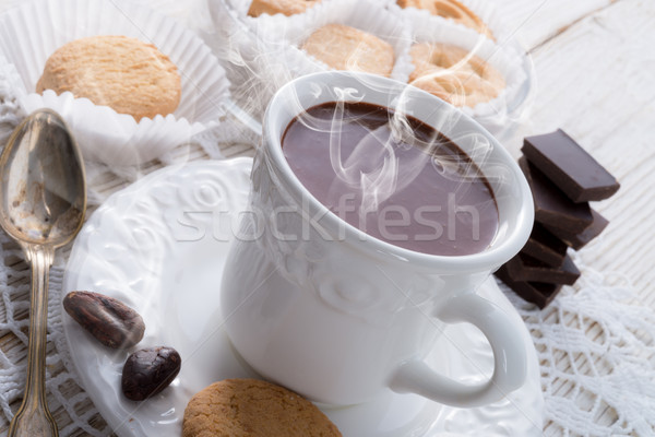 Hot chocolate with cookie Stock photo © Dar1930