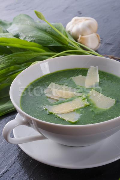 Alho sopa parmesão comida madeira Foto stock © Dar1930