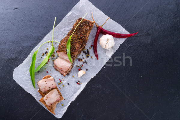 bacon with pepper honey crust Stock photo © Dar1930