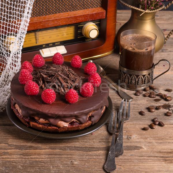 Csokoládés sütemény török kávé klasszikus stílus buli Stock fotó © Dar1930