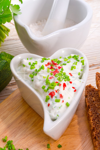 have breakfast curd with chives Stock photo © Dar1930