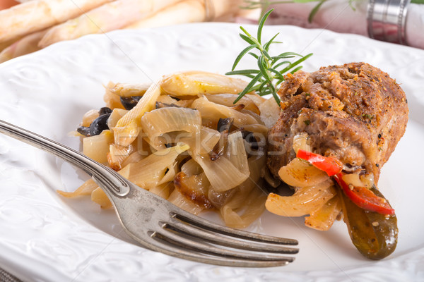 Fleisch Olivenöl Essen Kuh rot Platte Stock foto © Dar1930