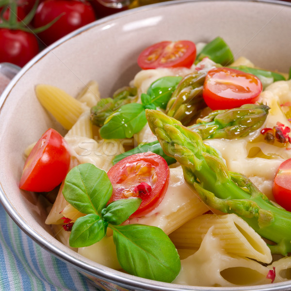 Noodles with asparagus in cream-cheese sauce Stock photo © Dar1930