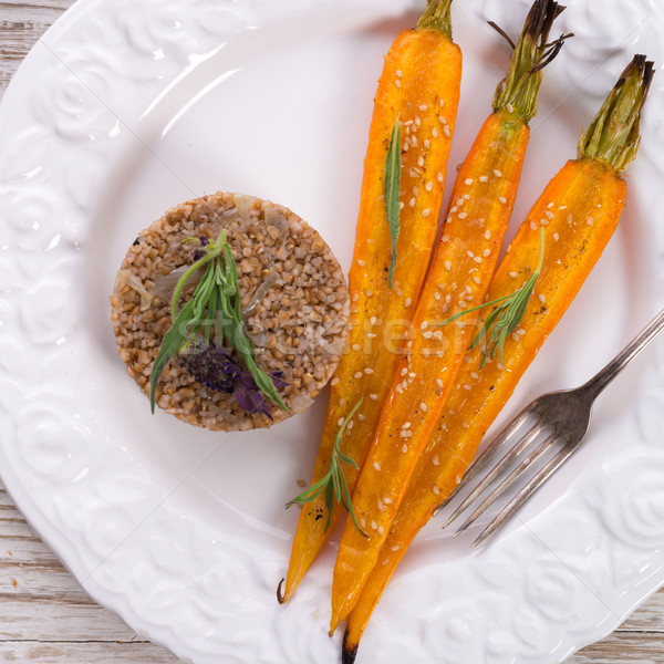 Wheat groats  and Caramelized carrots  Stock photo © Dar1930