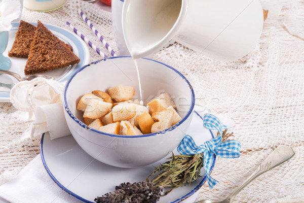 Tradicionalmente café feliz saúde chocolate ovo Foto stock © Dar1930