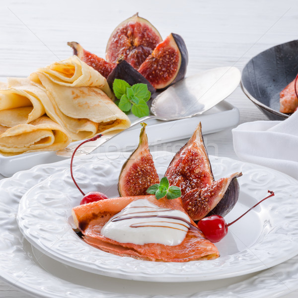 flambéed pancakes with figs and cherries Stock photo © Dar1930
