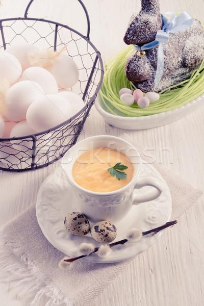 Sos yumurta siyah pişirme sebze sarı Stok fotoğraf © Dar1930