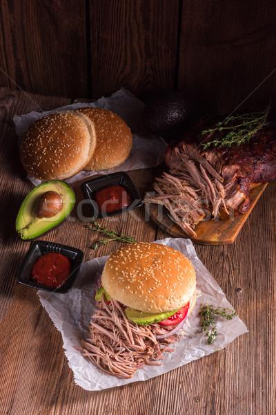 ハンバーガー 豚肉 表 ディナー サラダ ホット ストックフォト © Dar1930