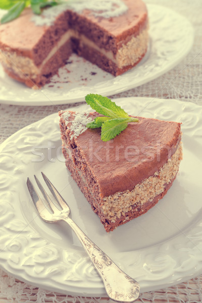 chocolate cakes with nut filling - vintage Stock photo © Dar1930