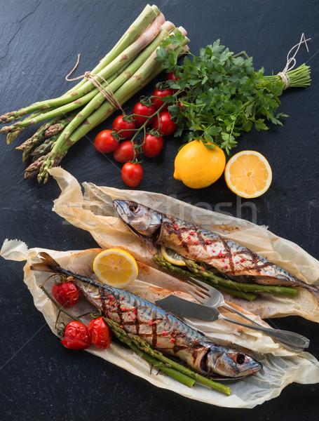 ストックフォト: 焼き · サバ · アスパラガス · 魚 · レストラン · 緑