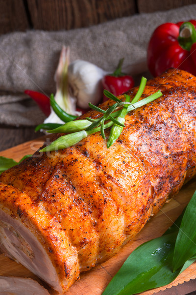 ストックフォト: 肉 · クマ · 充填 · 春 · 食品 · 木材