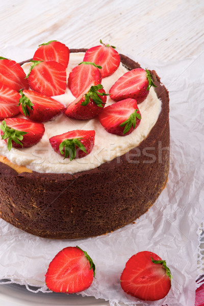 Stock photo: strawberry cheese cake