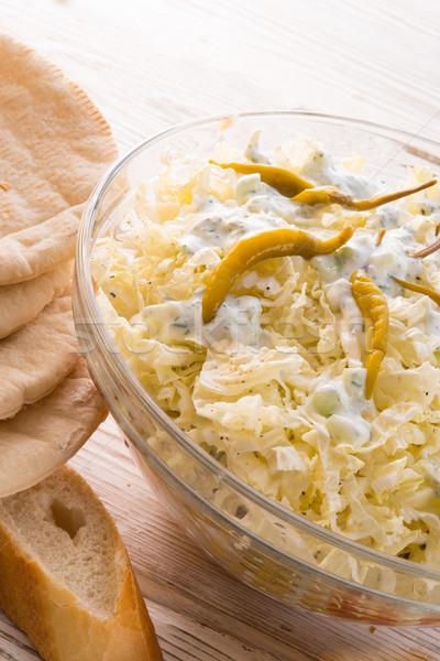 Pita strony chleba obiedzie Sałatka tłuszczu Zdjęcia stock © Dar1930