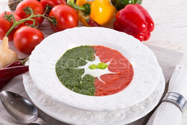 tomato-spinach cream soup Stock photo © Dar1930