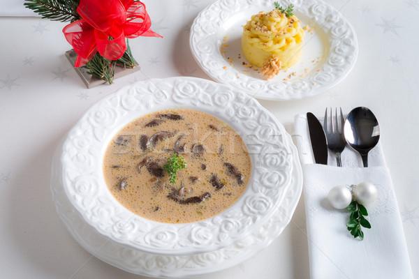 クリスマス キノコ スープ 食品 パーティ 表 ストックフォト © Dar1930