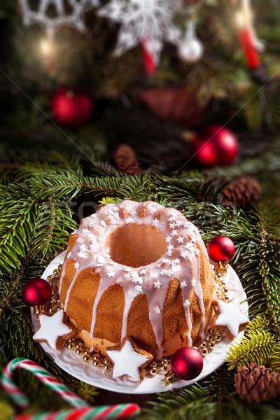 Noel madeira kek gıda plaka beyaz Stok fotoğraf © Dar1930
