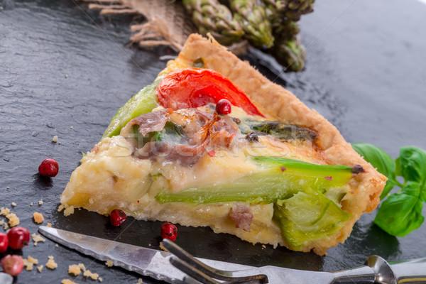 green asparagi Tart with eggs and tomato Stock photo © Dar1930