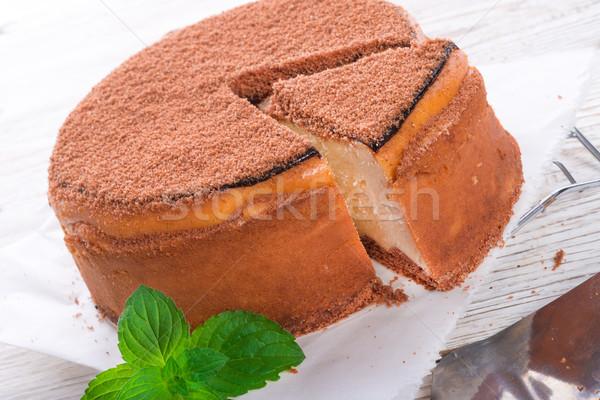 Sajttorta torta zöld friss édes étel Stock fotó © Dar1930