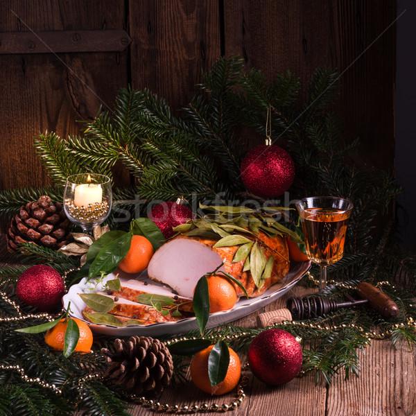 aromatic turkey roast in piquant marinade and Bay laurel Stock photo © Dar1930