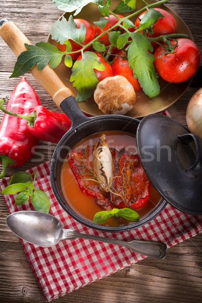 Sopa de tomate alimentos salud cena rojo almuerzo Foto stock © Dar1930