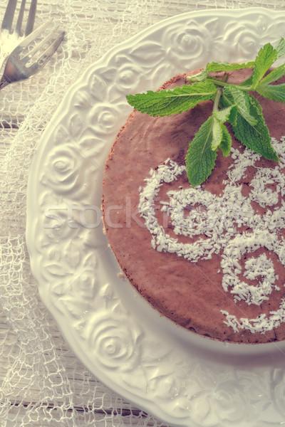 Stockfoto: Chocolade · gebak · moer · vulling · vintage · voorjaar