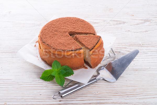 Cheesecake gâteau vert fraîches sweet repas Photo stock © Dar1930