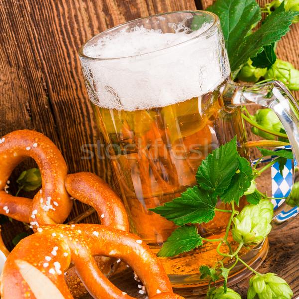 Sör étel fa üveg asztal zászló Stock fotó © Dar1930